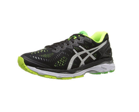 ASICS Men's Gel-Kayano 23 Running Shoe, Black/Silver/Safety Yellow