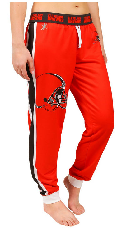 KLEW NFL Women's Cleveland Browns Cuffed Jogger Pants, Orange