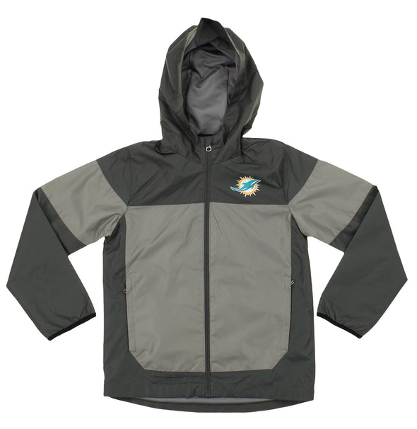 NFL Youth Miami Dolphins Light Weight All Elements Jacket , Black / Grey