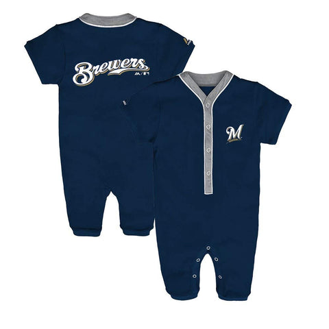 Majestic MLB Infants Milwaukee Brewers Outfield Coveralls