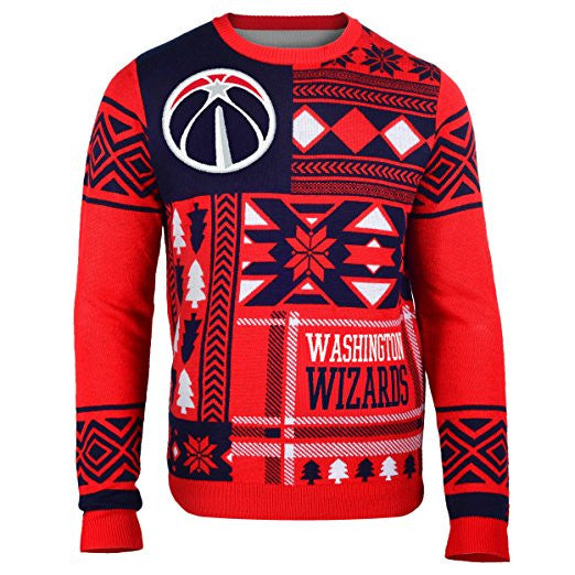 Klew NBA Men's Washington Wizards Patches Ugly Sweater, Red