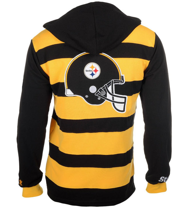 a15430eff8 KLEW NFL Men's Pittsburgh Steelers Striped Rugby Pullover Hoodie, Black /  Yellow