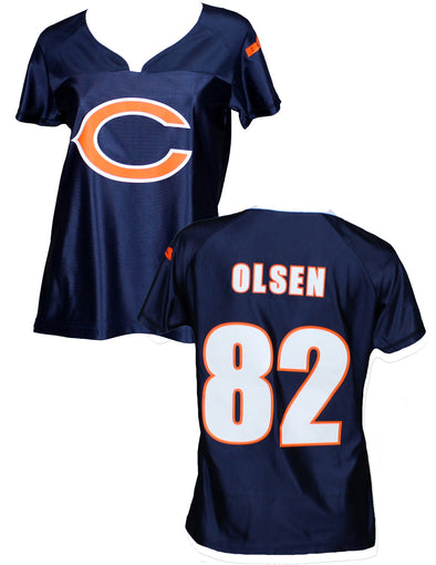 Chicago Bears NFL Football Womens GREG OLSEN # 82 Fashion Dazzle Jersey, Navy
