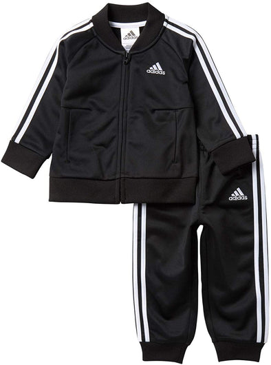Adidas Boy's Toddler Classic 3-Stripes Tricot Jacket and Pant Set, Black, 2T