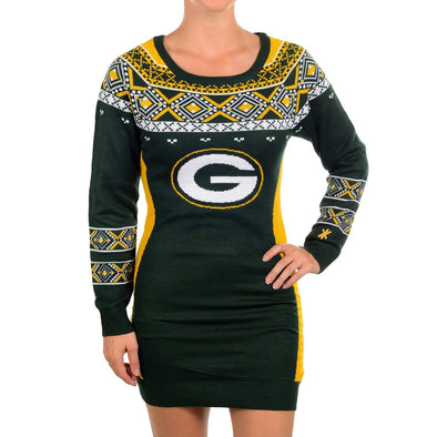 "KLEW NFL Women's Green Bay Packers ""Big Logo"" Ugly Sweater Dress"