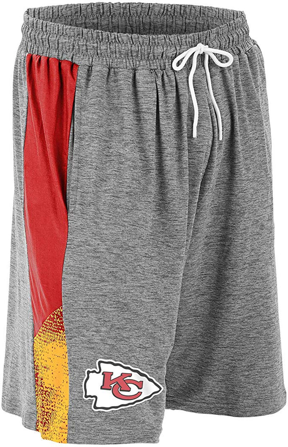 Zubaz NFL Football Mens Kansas City Chiefs Gray Space Dye Shorts