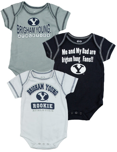 NCAA College Infants Brigham Young Cougars BYU 3 Pack Creeper Bodysuit Set