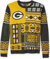 Klew NFL Men's Green Bay Packers Patches Ugly Crew Neck Sweater, Yellow/Green