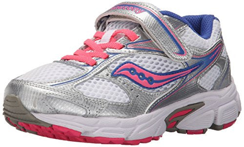 Saucony Little Kid/Big Kid Cohesion 8 A/C Running Shoe, White/Silver/Coral