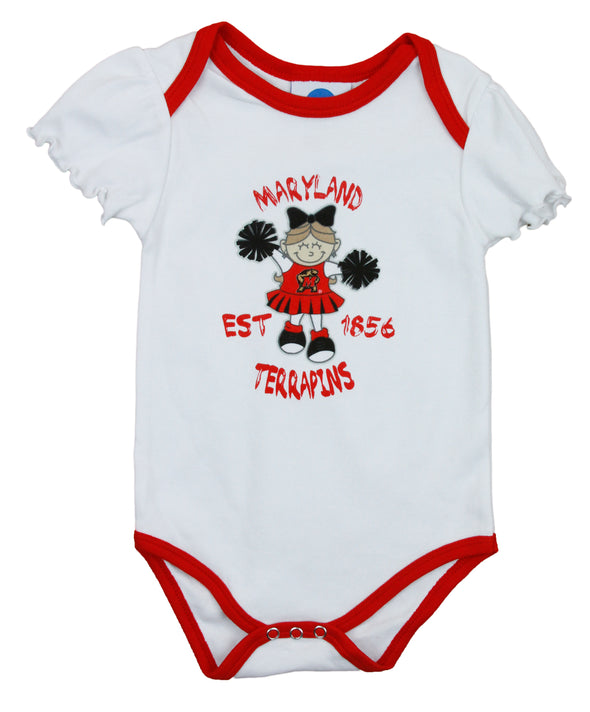 NCAA College Infant Girls Maryland Terrapins 2 Pack Creeper Bodysuit Set, Red / Black