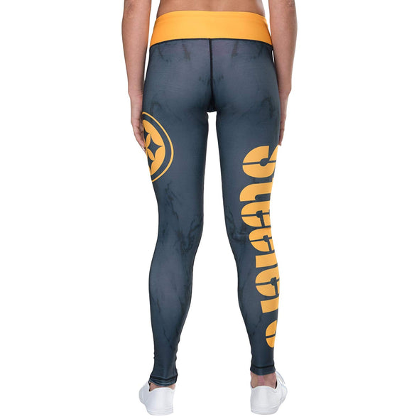 Forever Collectibles NFL Women's Pittsburgh Steelers Marble Wordmark Leggings
