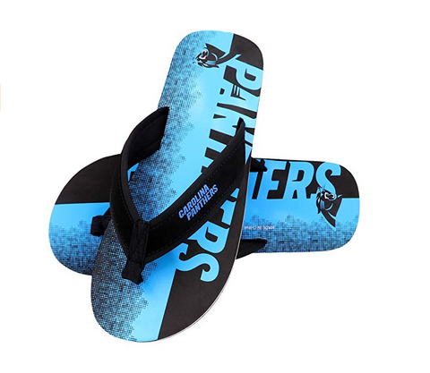 FOCO NFL Men's Carolina Panthers Contour Fade Wordmark Thong Sandals