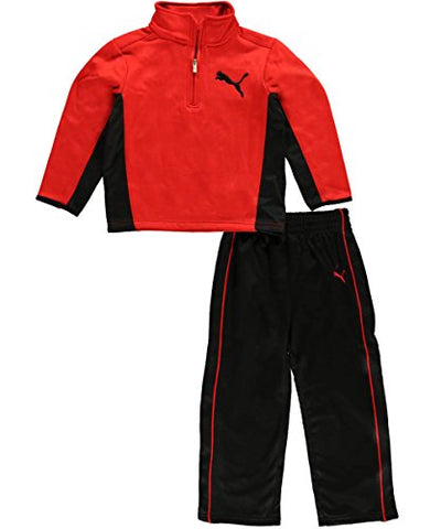 Puma Toddlers Angle 1/4 Zip Up Sweatshirt and Pants 2 Piece Set - Red