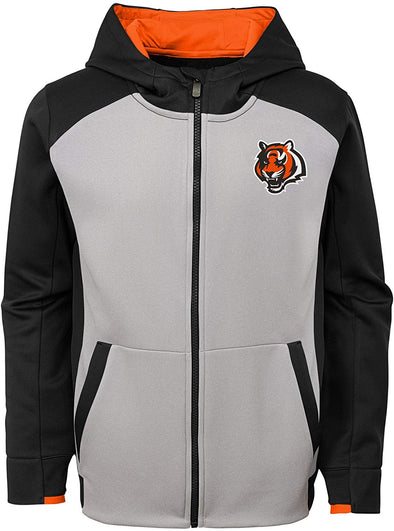 Outerstuff NFL Youth Cincinnati Bengals Hi Tech Performance Full Zip Hoodie