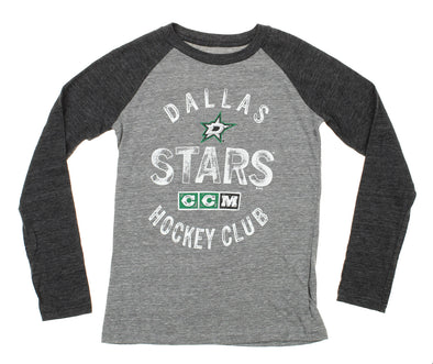CCM NHL Youth Dallas Stars Vintage Graphics Fanatic Raglan Tee