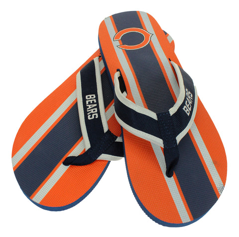 FOCO NFL Men's Chicago Bears Stripe Wordmark Thong Sandals