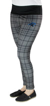 NFL Football Juniors Women's Carolina Panthers Plaid Stretch Leggings, Grey