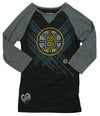Reebok NHL Youth Girl's Boston Bruins Logo 3/4 Sleeve Raglan Tee T-Shirt, Grey