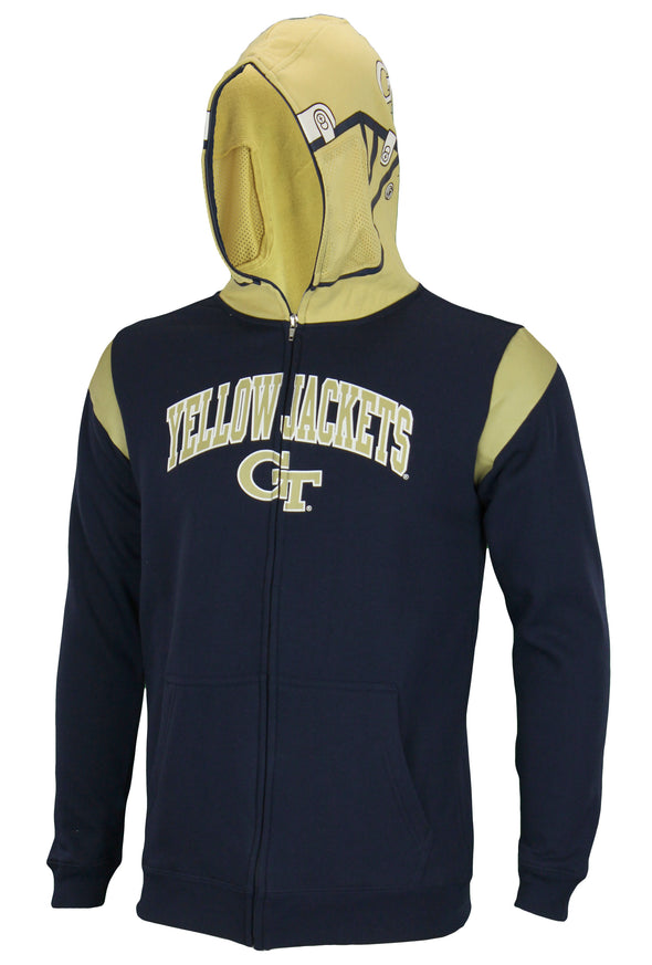 NCAA Youth Georgia Tech Yellow Jackets Full Zip Helmet Masked Hoodie, Navy
