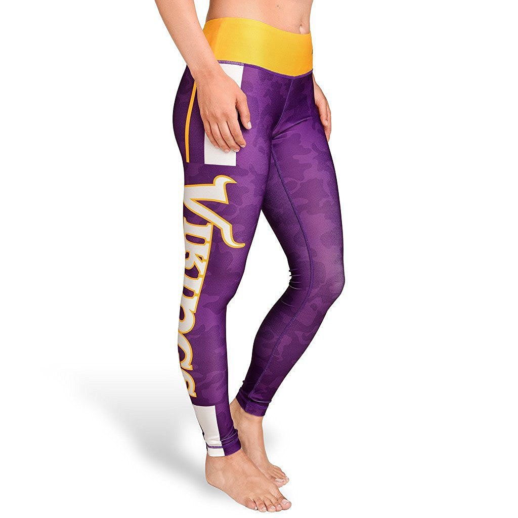 Forever Collectibles NFL Women's Minnesota Vikings Team Stripe Leggings, Purple