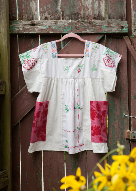 Heritage Rose Embroidered Peasant Top