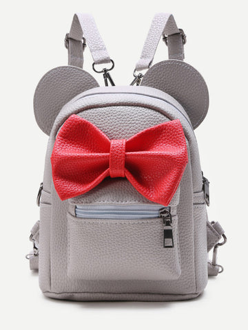 Silver with Red Bow Minnie Mouse Backpack
