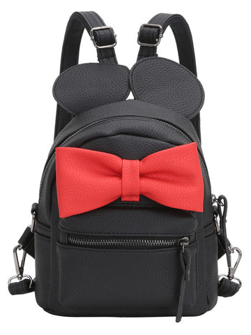 Black with Red Bow Minnie Mouse Backpack