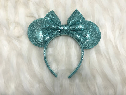 Spearmint Full Sequin Minnie Mouse Ears