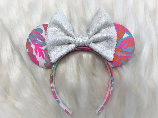 Lilly Pulitzer Inspired Ears Sequin Minnie Mouse EarsMickey Mouse Ears Glitter Mickey Ears Sequin Mickey Ears - MADE TO ORDER