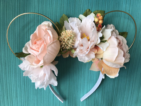 Cream Peach Rose Garden Floral Mickey Mouse Ears