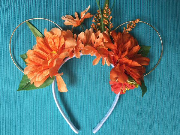 Orange Summer Field Floral Mickey Mouse Ears