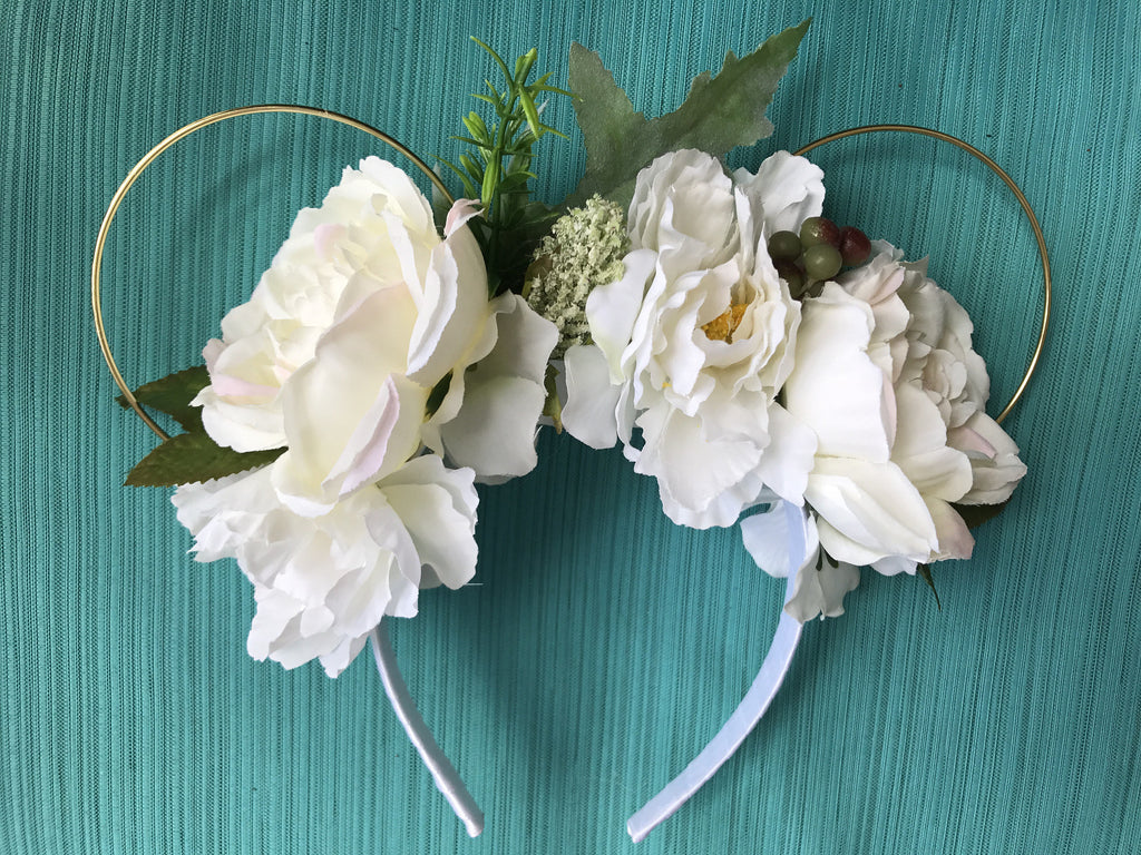 White Rose Garden Floral Mickey Mouse Ears