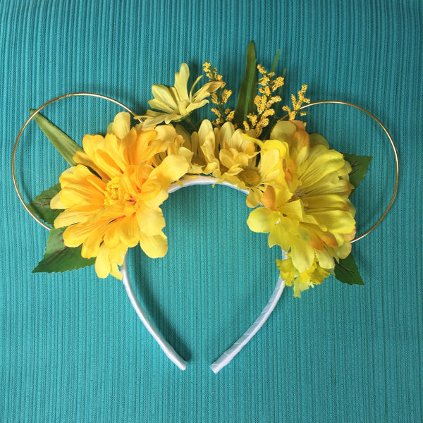 Yellow Summer Field Floral Mickey Mouse Ears