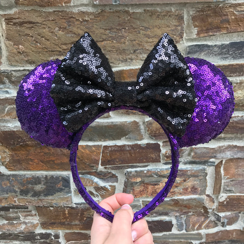 Haunted Mansion Sequin Minnie Mouse Ears (Dark)