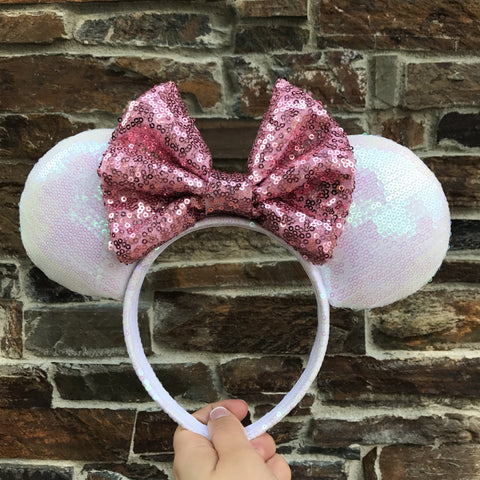 Pearl White Holographic Minnie Mouse Ears - Pick Your Bow