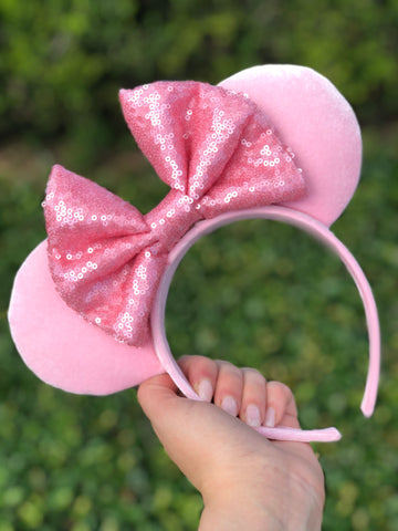 Millennial Pink Velvet with Bubblegum Sequin Bow Minnie Mouse Ears