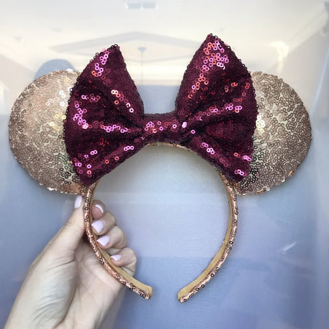 Seminole Gold Sequin Minnie Mouse Ears with Garnet Bow (FSU)