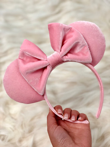 Millennial Pink Velvet Minnie Mouse Ears