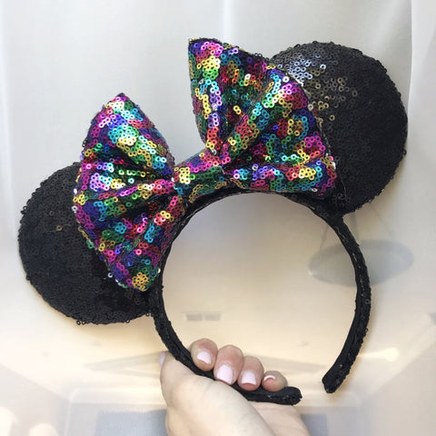 Party Rainbow Bow Black Minnie Mouse Ears