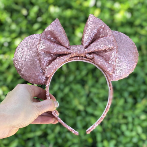 Matte Rose Gold Full Sequin Minnie Mouse Ears