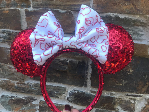 Valentines Day Bow on Red Sequin Minnie Mouse Ears
