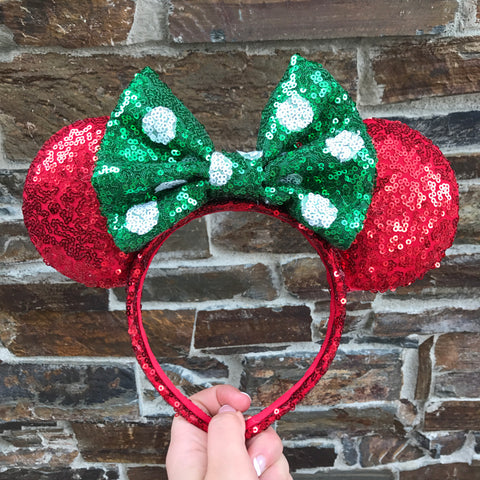Christmas Minnie Mouse Ears (Polkadot)