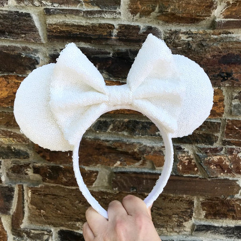 White Full Sequin Minnie Mouse Ears