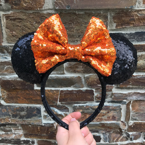 Halloween Orange Bow Sequin Minnie Mouse Ears