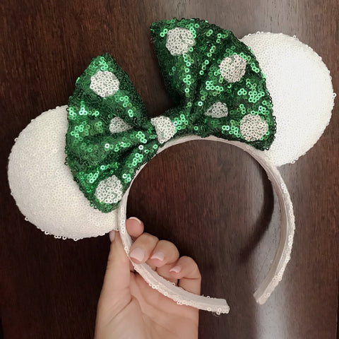 White Christmas Minnie Mouse Ears with Green Polkadot Bow