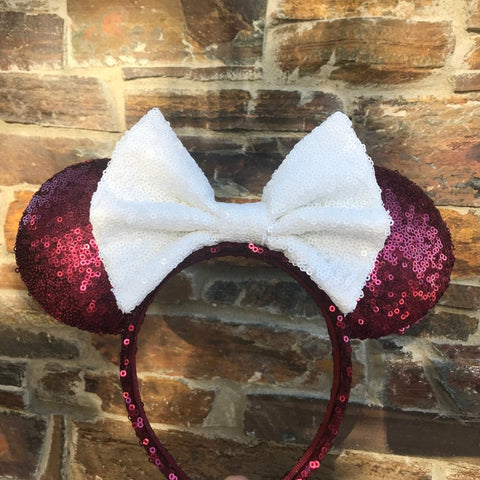 Maroon and White Sequin Minnie Mouse Ears (Texas A&M)