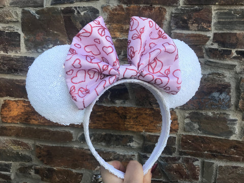 Pink Valentines Day Bow on White Sequin Minnie Mouse Ears