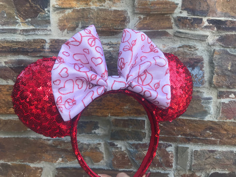 Pink Valentines Day Bow on Red Sequin Minnie Mouse Ears