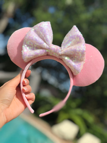 Millennial Pink Velvet with Unicorn Sequin Bow Minnie Mouse Ears