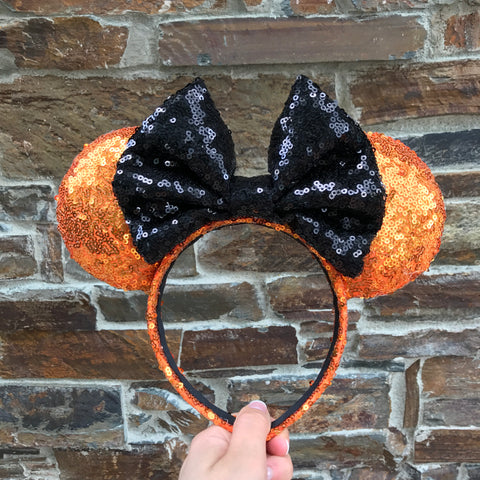 Orange with Black Bow Sequin Minnie Mouse Ears